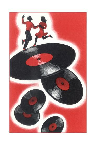Couple Jitterbugging on Records--Giclee Print