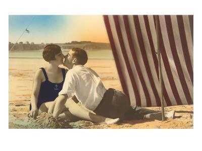 Couple Kissing on Beach--Art Print