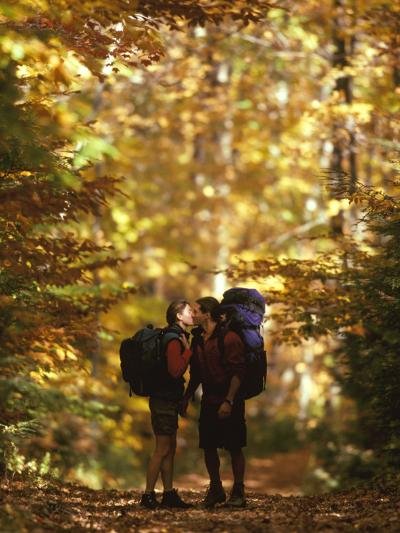Couple Kissing on the Trail During a Hike--Photographic Print