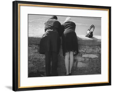 Couple Leaning on a Parapet--Framed Photographic Print