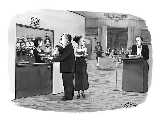 Couple leaves their small boy at a booth near host's station at restaurant…  - New Yorker Cartoon Premium Giclee Print by Harry Bliss | Art com