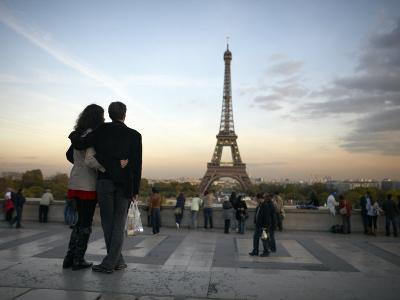 Couple Look Towards the Eiffel Tower, Paris, France, Europe-Andrew Mcconnell-Photographic Print