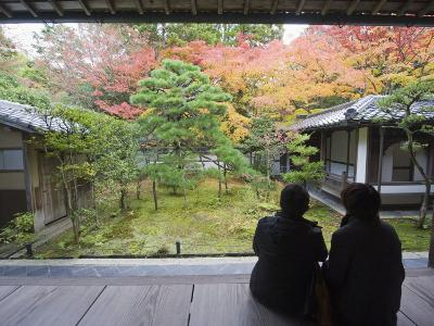 Couple Observing Autumn Colours, Koto in Zen Temple, Within Daitokuji Main Temple, Kyoto, Japan-Christian Kober-Photographic Print