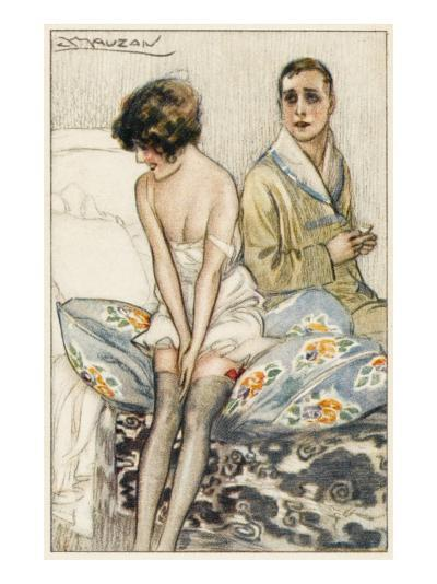 Couple on a Bed: He Looks Rather Serious, But She Appears to Be Giggling--Giclee Print