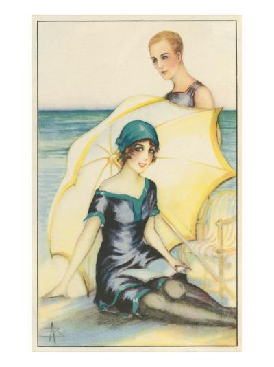 Couple on Beach in Swimming Costumes--Art Print