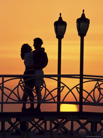 Couple on Bridge, Aruba, West Indies, Dutch Caribbean, Central America-Sergio Pitamitz-Photographic Print