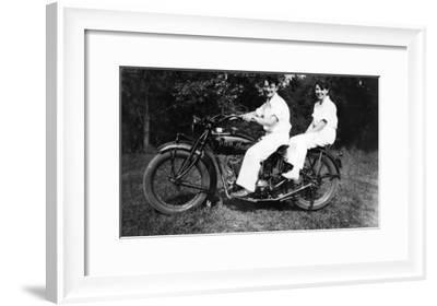 Couple on Indian Motorcycle Photograph - Tacoma, WA-Lantern Press-Framed Art Print
