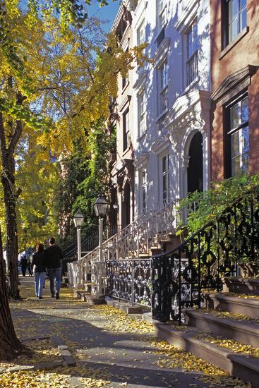 Couple on Leroy Street in Greenwich Village, Manhattan, New York, USA-Peter Bennett-Photographic Print