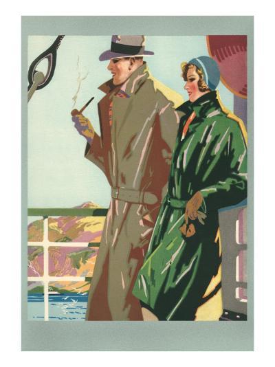 Couple on Ocean Liner--Art Print