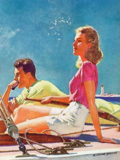 """""""Couple on Sailboat,""""August 1, 1939-McClelland Barclay-Giclee Print"""