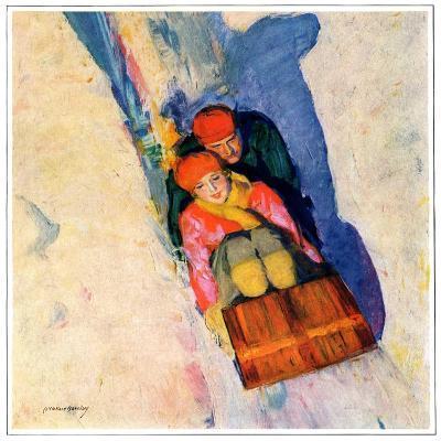 """Couple on Toboggan,""January 1, 1929-McClelland Barclay-Giclee Print"