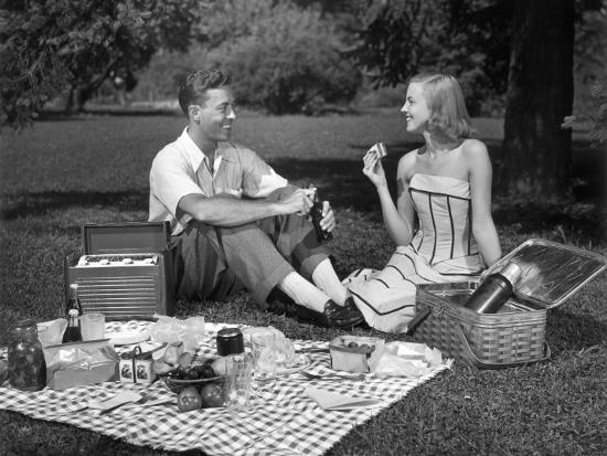 Couple Outdoors Having a Picnic-George Marks-Photographic Print