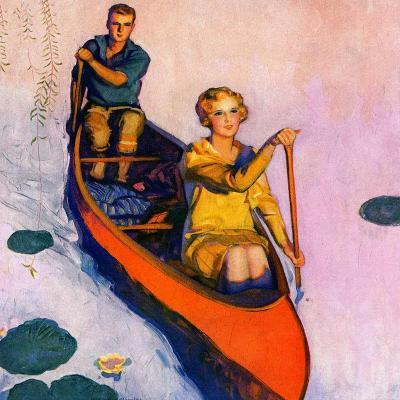 """Couple Paddling Caone,""August 1, 1929-McClelland Barclay-Giclee Print"