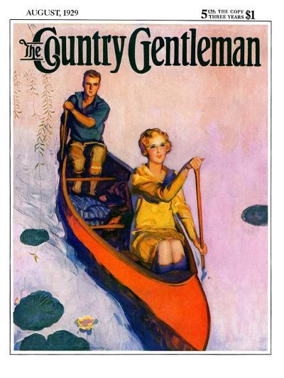 """Couple Paddling Caone,"" Country Gentleman Cover, August 1, 1929-McClelland Barclay-Giclee Print"
