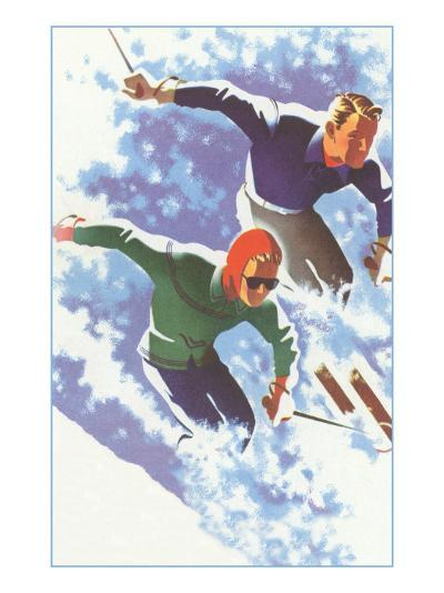 Couple Racing through Powder on Skis--Art Print