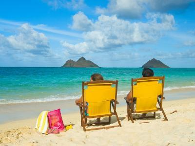 Couple Relaxing on Beach at Lanikai on Windward Side of Oahu-Ann Cecil-Photographic Print