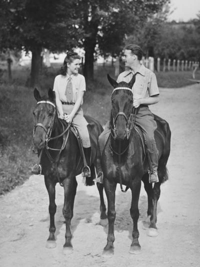 Couple Riding Horses (B&W)-George Marks-Photographic Print