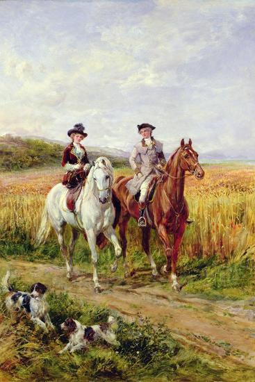 Couple Riding with their Dogs-Heywood Hardy-Giclee Print