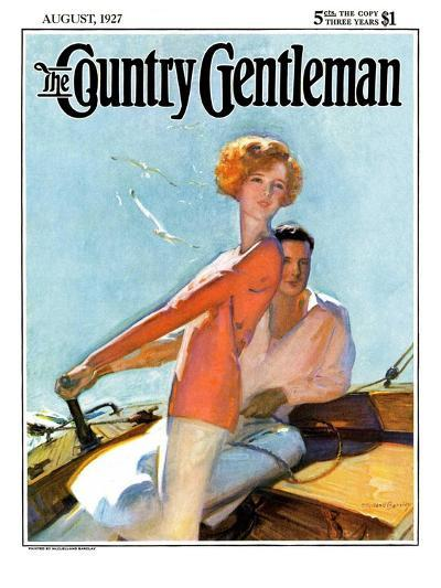 """""""Couple Sailing,"""" Country Gentleman Cover, August 1, 1927-McClelland Barclay-Giclee Print"""