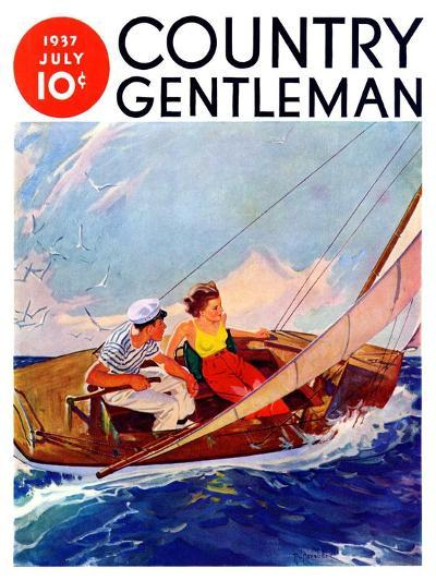 """""""Couple Sailing,"""" Country Gentleman Cover, July 1, 1937-R^J^ Cavaliere-Giclee Print"""