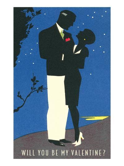 Couple Silhouetted in Starlight--Art Print