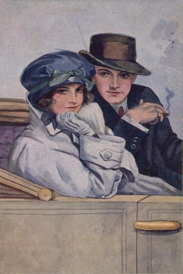 Couple Sitting in a Car--Giclee Print