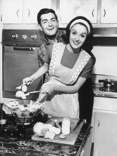 Couple Standing in Kitchen, Smiling-George Marks-Photographic Print