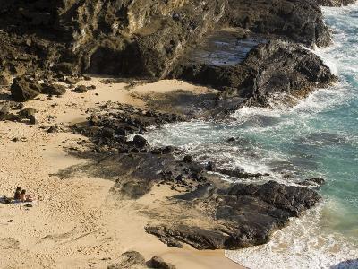 Couple Sunbathing in the Sands of Halona Beach on Oahu Island-Charles Kogod-Photographic Print