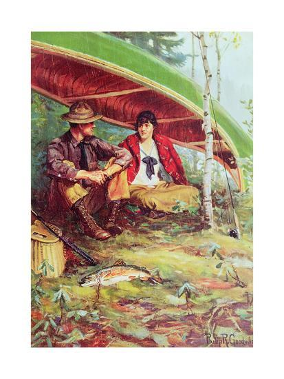 Couple Taking Shelter from the Rain under a Boat-Philip Russell Goodwin-Giclee Print