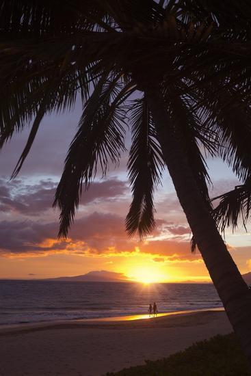 Couple Walking at Sunset at Keawekapu Beach, Wailea, Maui, Hawaii MNR-Ron Dahlquist-Photographic Print