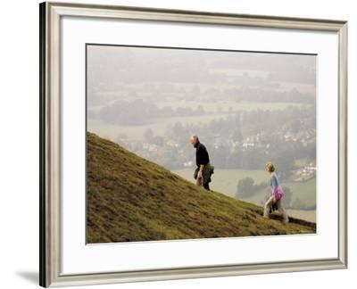 Couple Walking, British Camp, Hereford Beacon, Malvern Hills, Herefordshire, Midlands-David Hughes-Framed Photographic Print