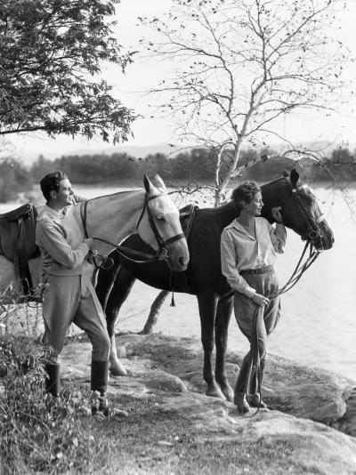 Couple Walking Horses Side By Side, Lake in Background-H^ Armstrong Roberts-Photographic Print