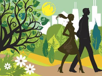Couple Walking in Park Near City Skyline--Photographic Print