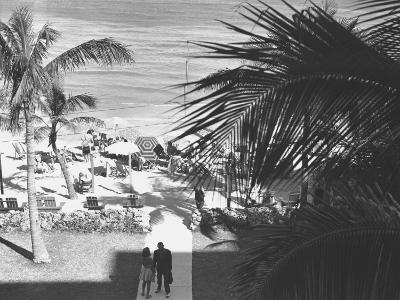 Couple Walking in Path Towards Beach, (B&W), Elevated View-George Marks-Photographic Print