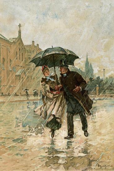 Couple Walking in the Rain on an English City Street, 1800s--Giclee Print
