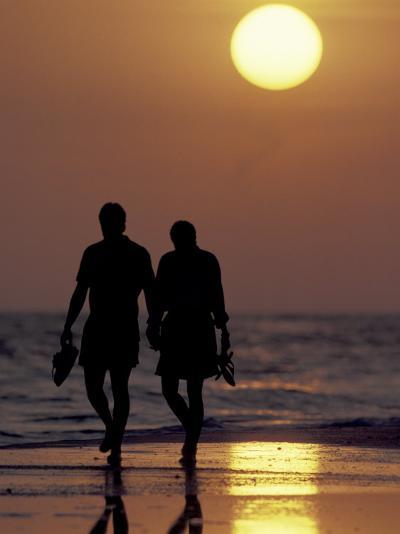 Couple Walking on Beach at Sunset, Sarasota, Florida, USA-Maresa Pryor-Photographic Print