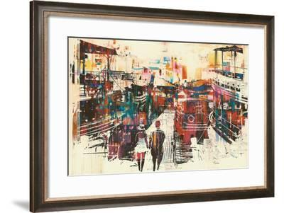Couple Walking on Harbor Pier with Colorful Boats,Illustration Painting-Tithi Luadthong-Framed Art Print