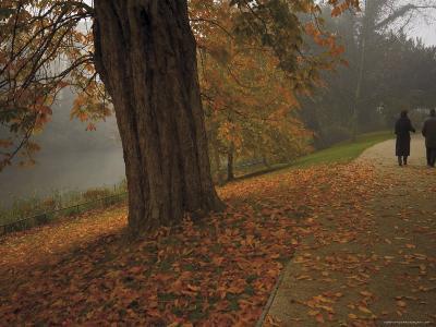Couple Walking Through the Jephson Gardens in Autumn, Leamington Spa, Warwickshire, England-David Hughes-Photographic Print
