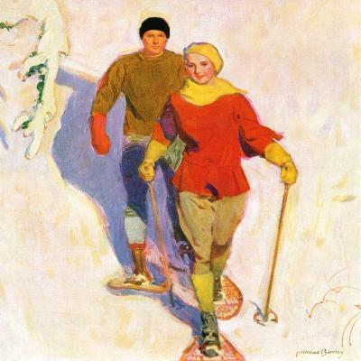 """""""Couple Wearing Snowshoes,""""February 1, 1930-McClelland Barclay-Giclee Print"""