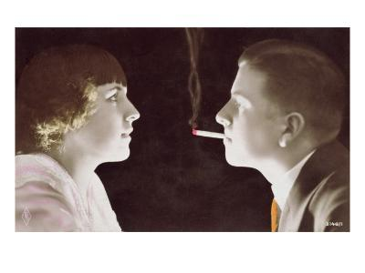 Couple with a Cigarette, 1917-French School-Giclee Print