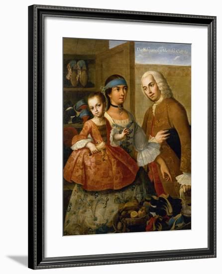Couple with Little Girl (De Espanol y Mestiza, Castiza), Museo de America, Madrid, Spain-Miguel Cabrera-Framed Giclee Print