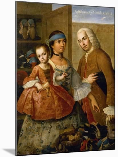 Couple with Little Girl (De Espanol y Mestiza, Castiza), Museo de America, Madrid, Spain-Miguel Cabrera-Mounted Giclee Print