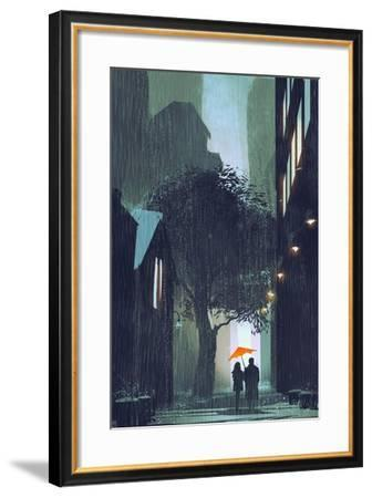 Couple with Red Umbrella Walking in Raining Street at Night,Illustration Painting-Tithi Luadthong-Framed Art Print