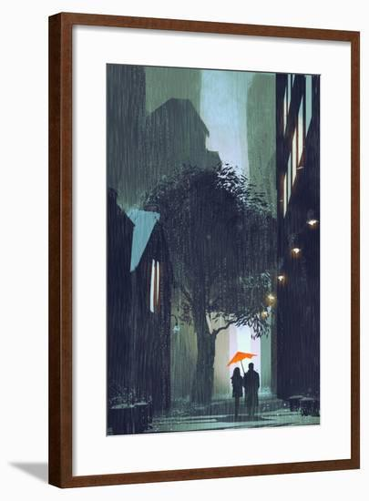 Couple with Red Umbrella Walking in Raining Street at Night,Illustration Painting-Tithi Luadthong-Framed Premium Giclee Print