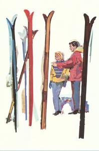 Couple with Sets of Skis