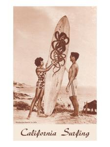 Couple with Surfboard with Octopus Motif