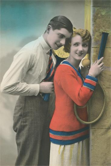 Couple with Tennis Rackets--Art Print