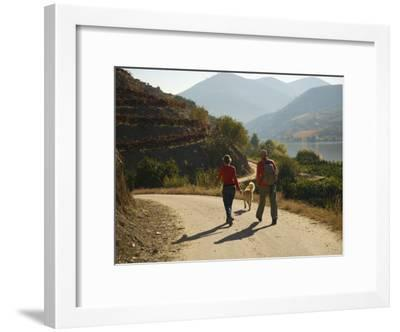 Couple with their Dog Hiking Along the Douro River-Michael Melford-Framed Photographic Print