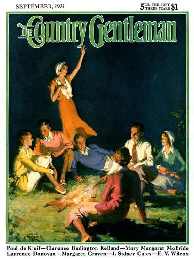 """""""Couples by Bonfire,"""" Country Gentleman Cover, September 1, 1931-Frank Bensing-Giclee Print"""
