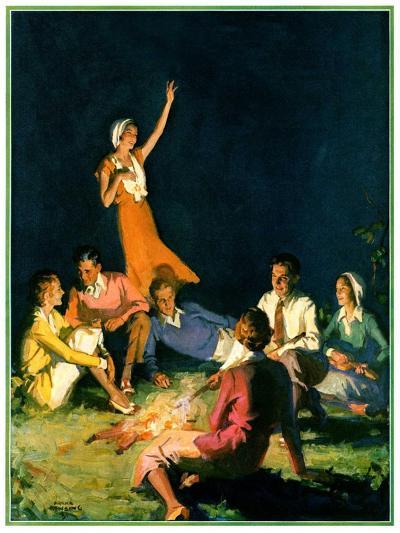 """""""Couples by Bonfire,""""September 1, 1931-Frank Bensing-Giclee Print"""